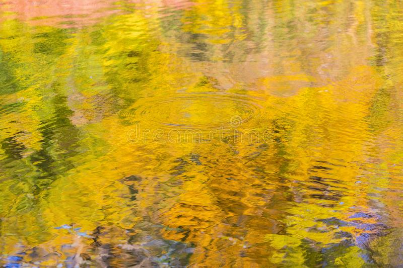 Abstract autumn multicolored reflections. Close up view of multi colored autumn style reflections on the water stock photography