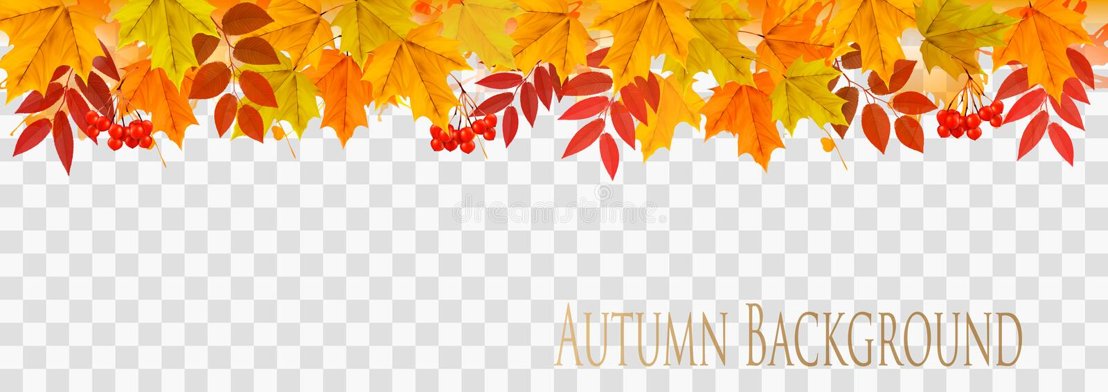 Abstract autumn panorama with colorful leaves stock illustration