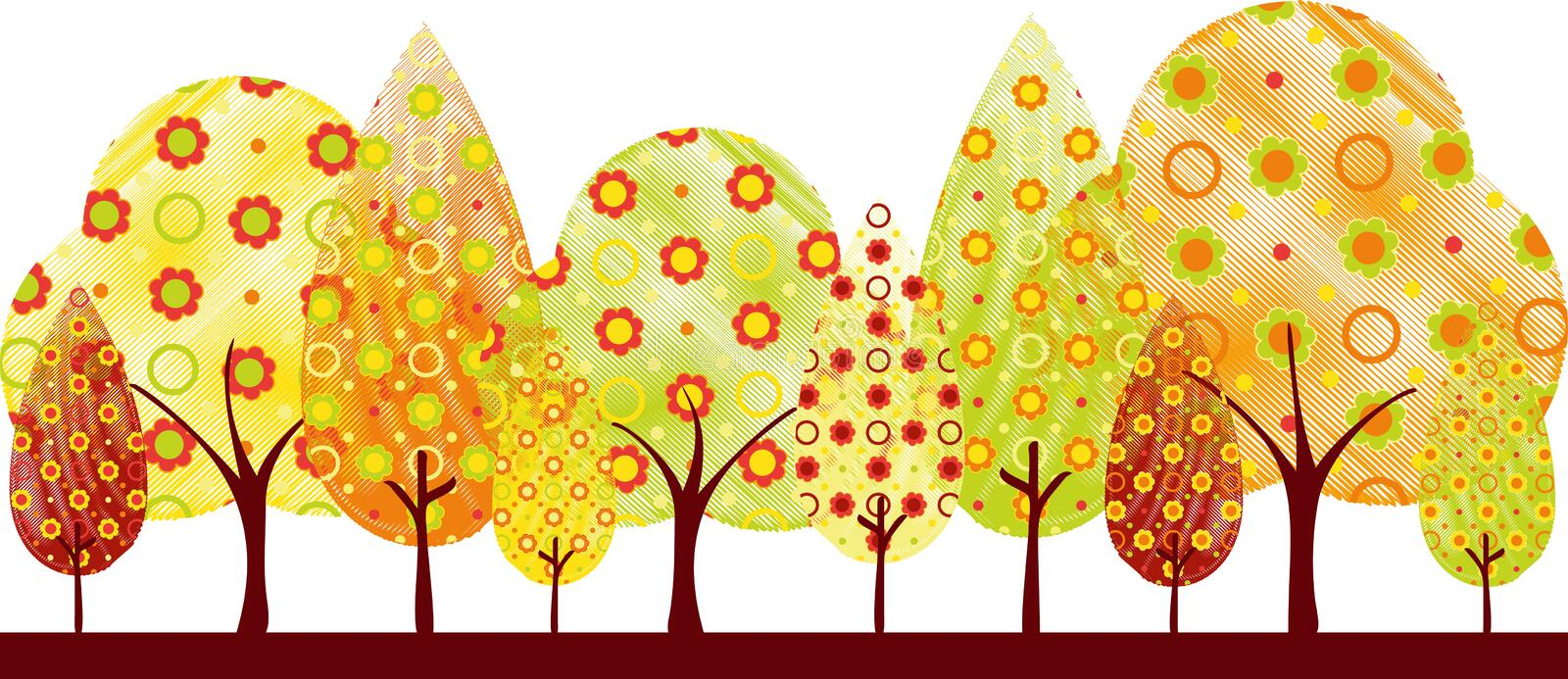 Abstract autumn tree greeting card stock image