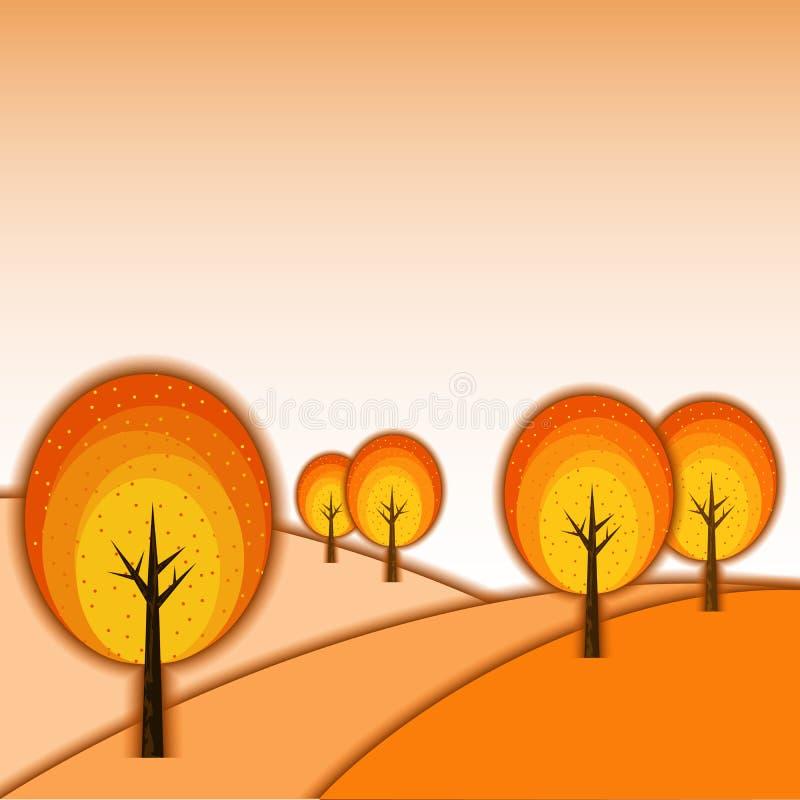 Abstract Autumn Tree Landscape royalty free illustration