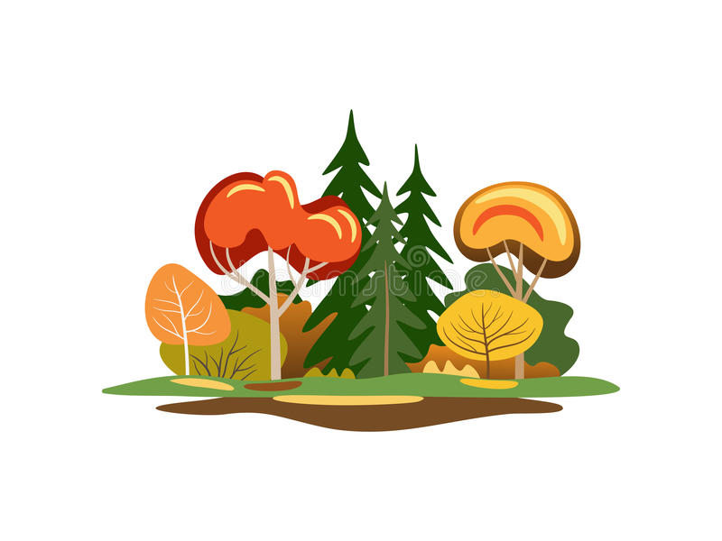 Abstract autumn trees. Illustration of colorful abstract autumn trees on white background stock illustration