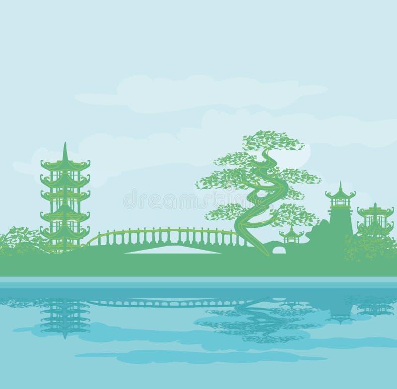 Abstract Aziatisch tempellandschap stock illustratie