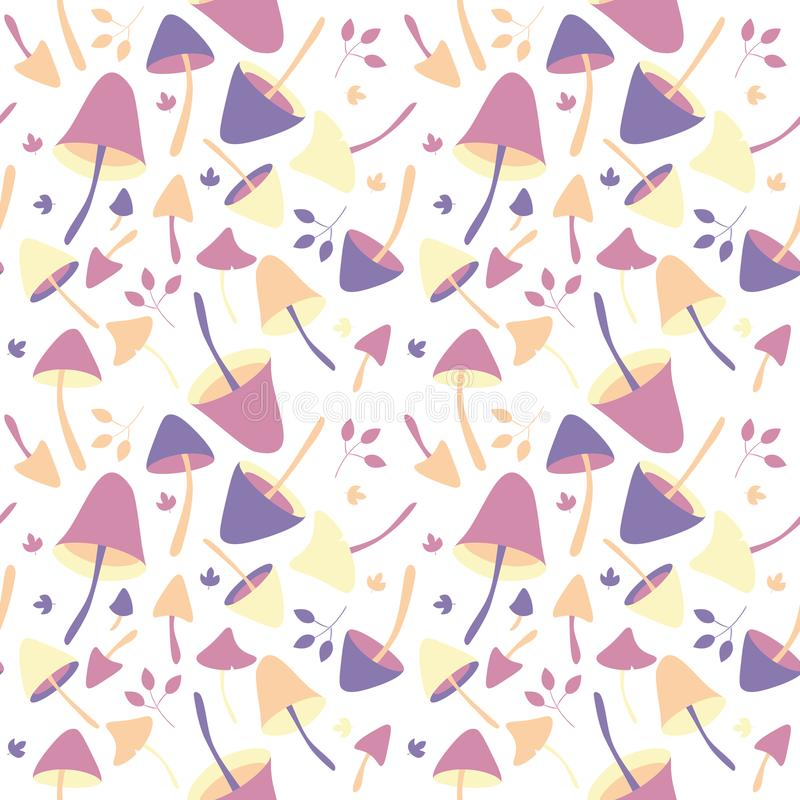 Abstract backdrop with fall season nature elements, vector seamless pattern with autumn mushrooms and leaves royalty free illustration