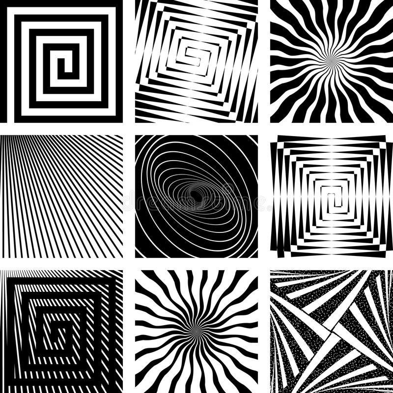 Abstract backdrops set. Rotation, spiral and radial motion illusion. Vector art vector illustration
