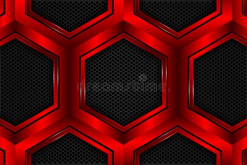 Red hexagon metallic on black mesh as background royalty free illustration