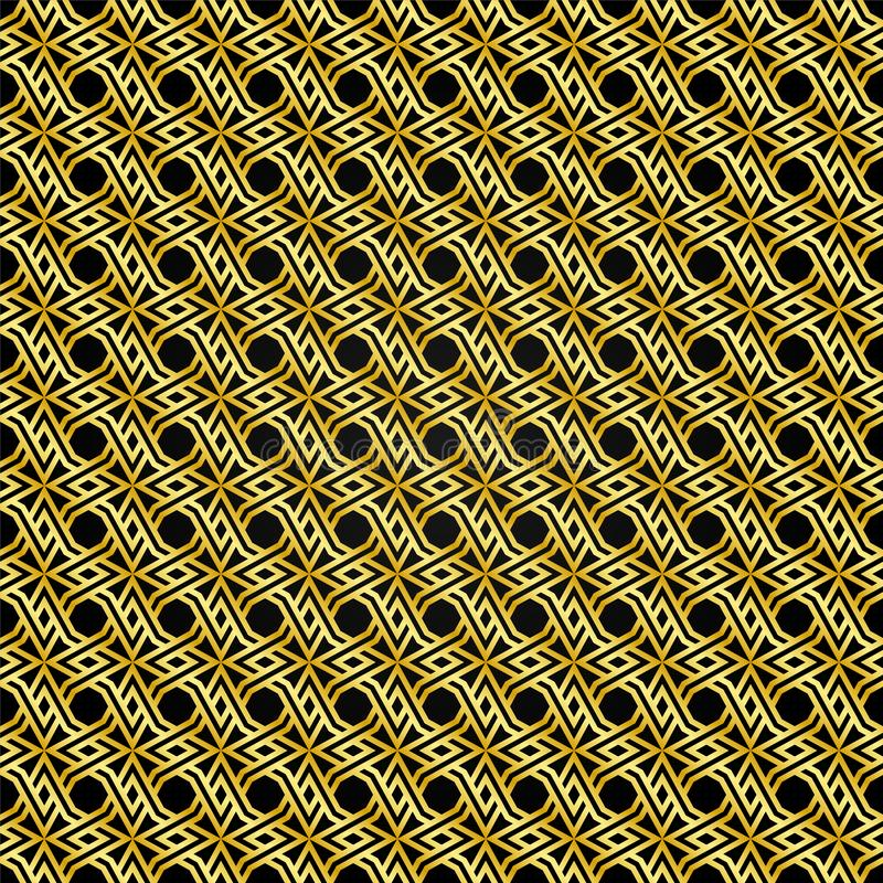 Gold pattern pattern with a black background as an abstract background royalty free illustration