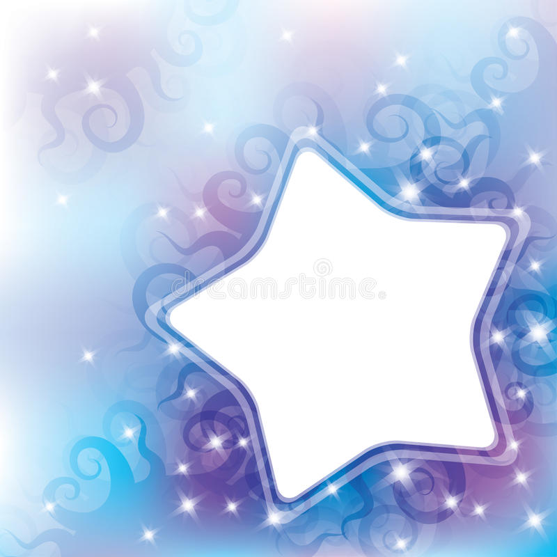 Abstract background. With curls and white star vector illustration