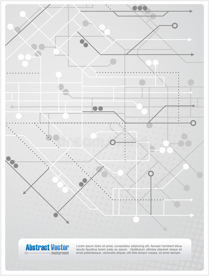 Abstract background. With lines, circles and arrows similar to a subway map, with space for custom text. All elements are on separate layers for easy editing stock illustration
