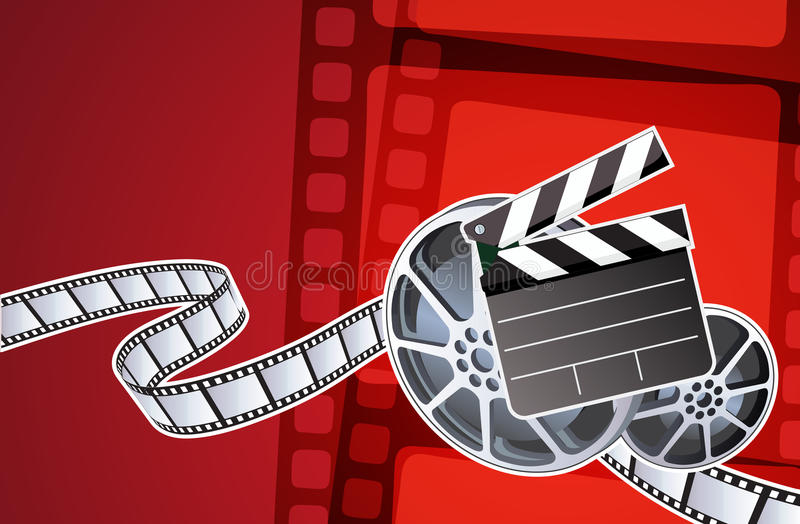 Abstract background. Vector illustration of abstract background with film, clapperboard and a film reel royalty free illustration