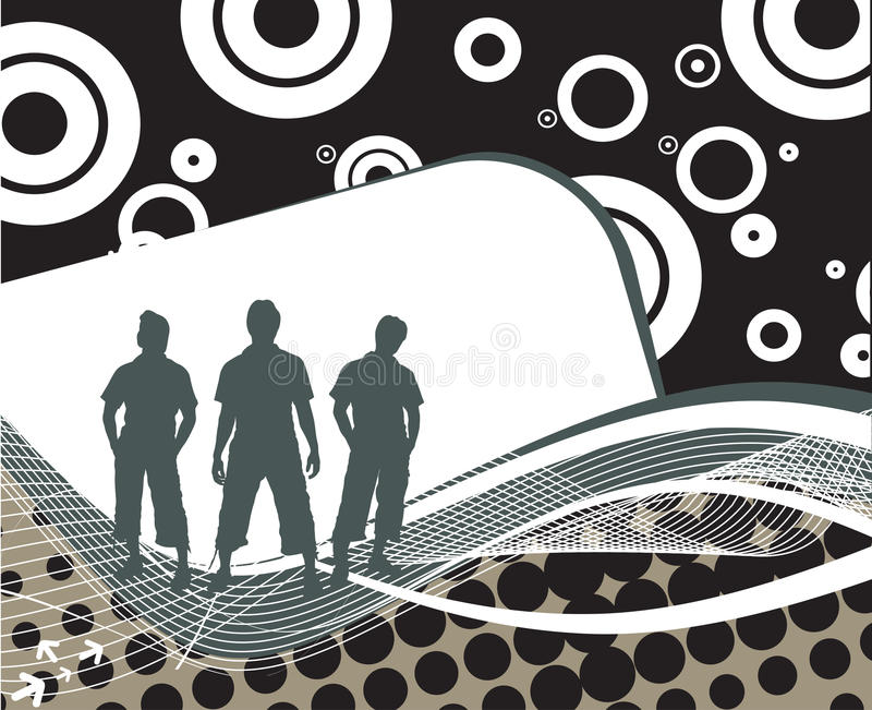Abstract background. Group of three boy in abstract wave line background royalty free illustration