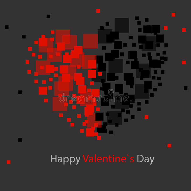 Abstract background, abstract background, square - heart, black - red. Valentine`s card royalty free illustration