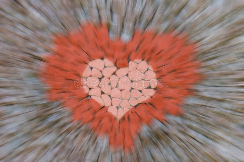 Abstract background acceleration motion blur lines fast approaching red image symbol of love craft design stone royalty free stock image