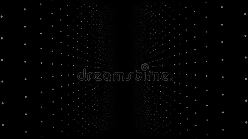 Abstract background with animation of slow moving particles. Animation of seamless loop. Dot Particle flow twist and vector illustration