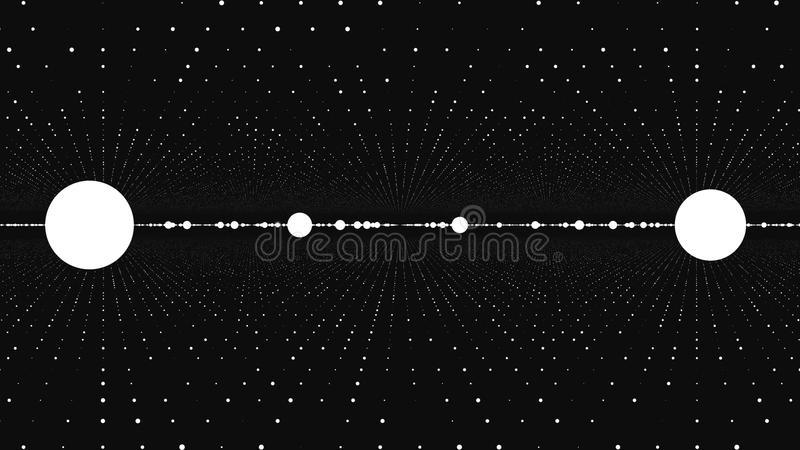Abstract background with animation of slow moving particles. Animation of seamless loop. Dot Particle flow twist and royalty free illustration