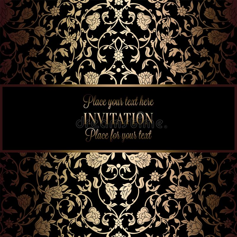 Abstract Background With Antique, Luxury Black And Gold