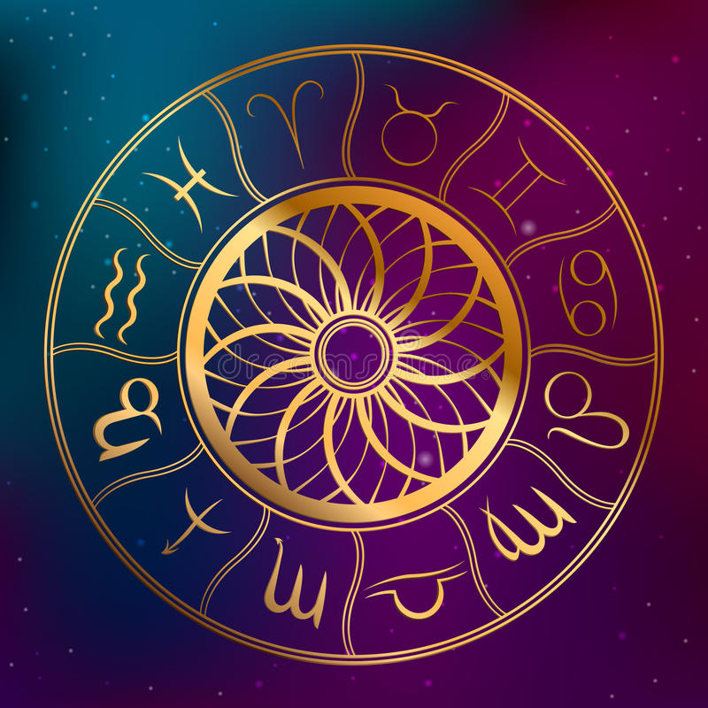 Abstract background astrology concept horoscope with zodiac signs illustration royalty free illustration