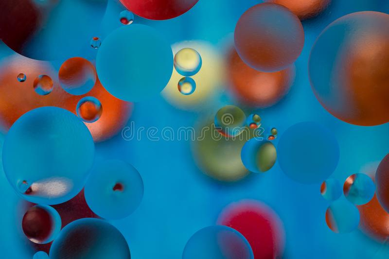 Multi-color abstract background with oil drops in water. Beautiful color oil drops. Abstract background royalty free illustration