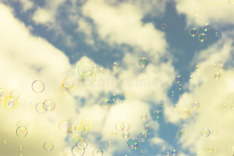 Abstract background : Beautiful soap bubbles reflecting various stock images
