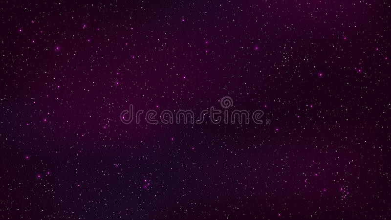 Abstract background. The beautiful starry sky is purple. The stars glow in complete darkness. Fantastic galaxy. Open space. Vector stock illustration