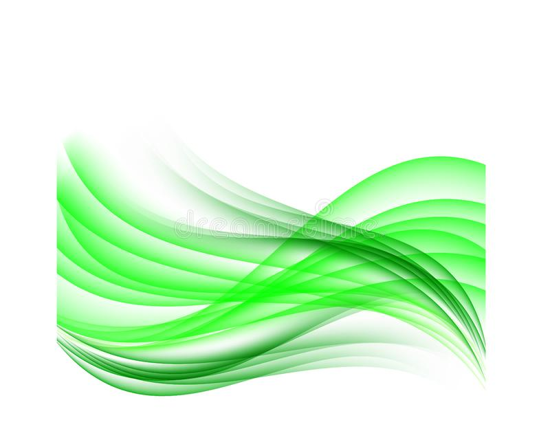 Wavy abstract background green waves on white background vector illustration