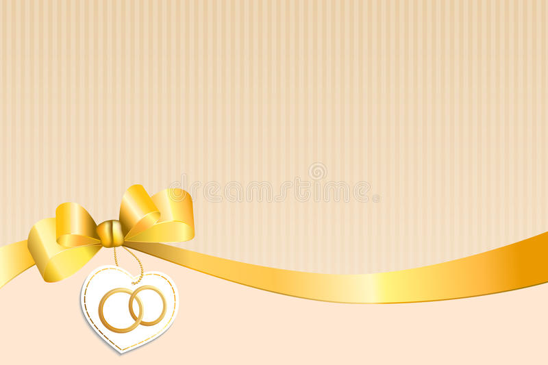 Abstract background beige strips white yellow bow heart with wedding gold rings vector illustration