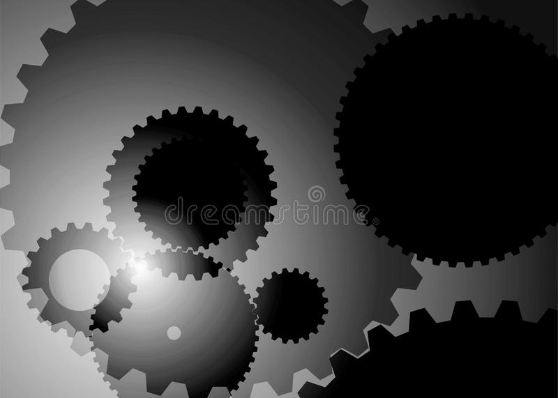 Abstract background with big and small gears gray color royalty free illustration