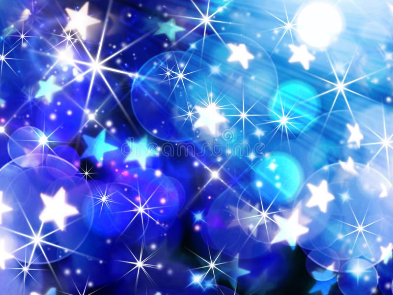 Blue blurred festive bokeh background, circles, stars, glitter,. Abstract background birthday background blue blue blurred festive bokeh background bright stock illustration