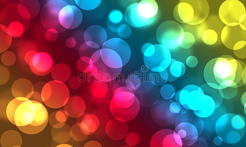 Bright festive background bokeh, Christmas, party, fun, birthday, rainbow colors, multicolor, circles, light effect stock illustration