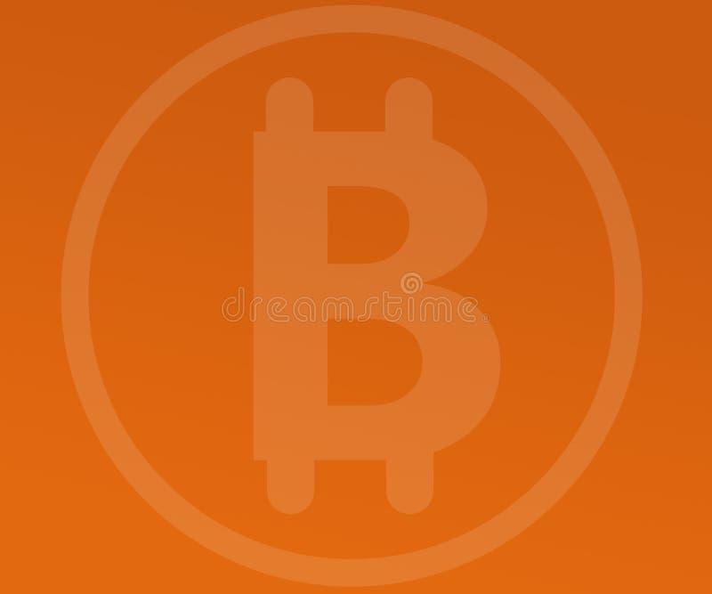 Abstract Background Bitcoin Watermark on Orange Gradients royalty free illustration
