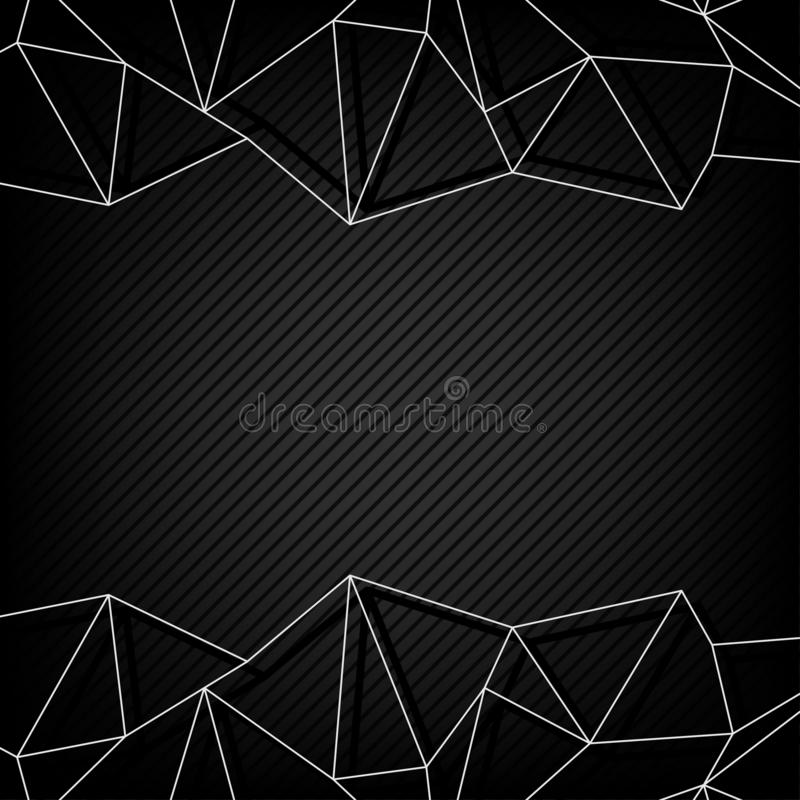 Abstract background, black frame design, line connection polygon communication stock image