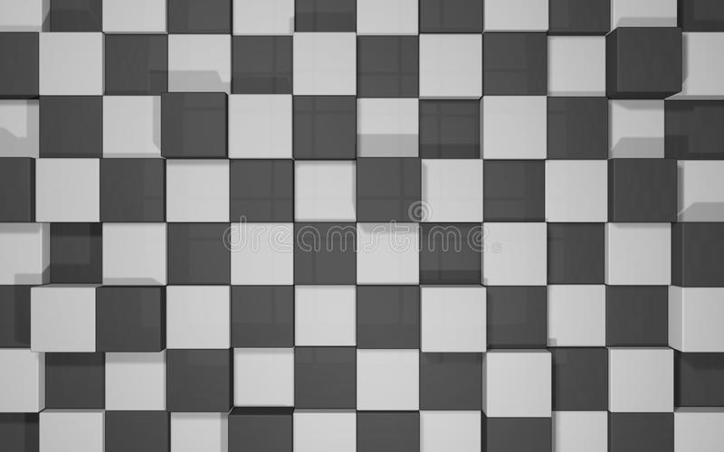 Abstract background of black and grey cubes wall royalty free illustration