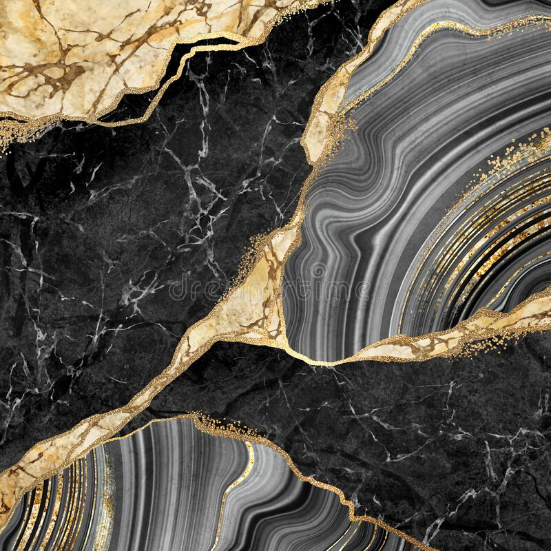 Free Abstract Background, Black Marble And Agate Mosaic With Golden Veins, Japanese Kintsugi Technique, Fake Painted Artificial Stone Stock Image - 191169801