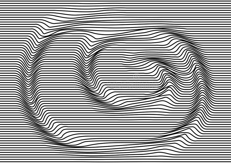 Abstract background with black parallel horizontal lines, optical swirl motion. Striped texture. Vector royalty free illustration