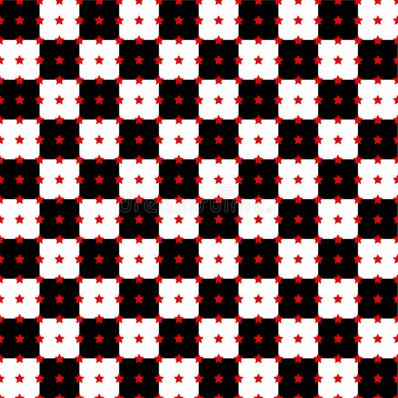 Abstract background with black and white squares and red stars stock illustration