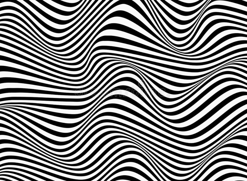 Abstract background of black and white stripe line pattern wavy design. Vector eps10 vector illustration