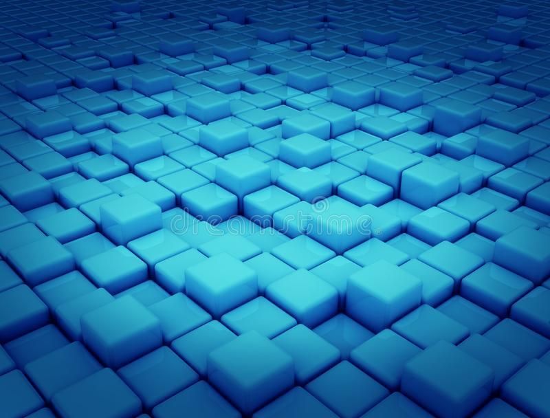 Abstract background blue cubes 3d stock photography