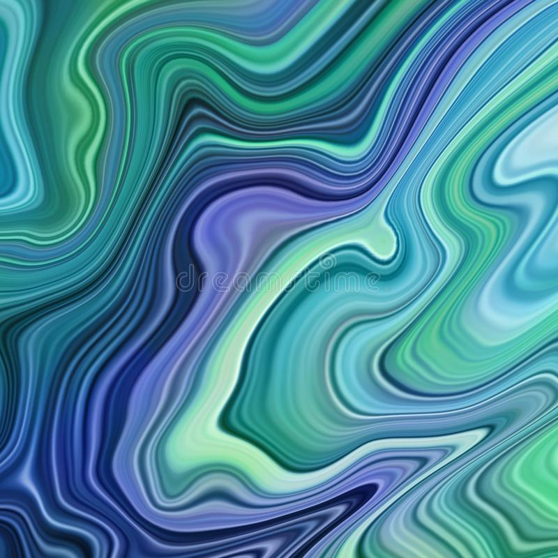 Abstract background, blue green palette, vivid fluid art, marbling texture, agate wallpaper, wavy lines, liquid ripples stock illustration