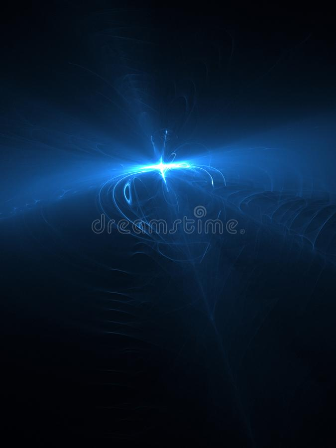 Abstract background, blue light effects in a dark sky, 3d illustration. Abstract background, blue light effects in a dark sky, space with nebula and energy royalty free illustration