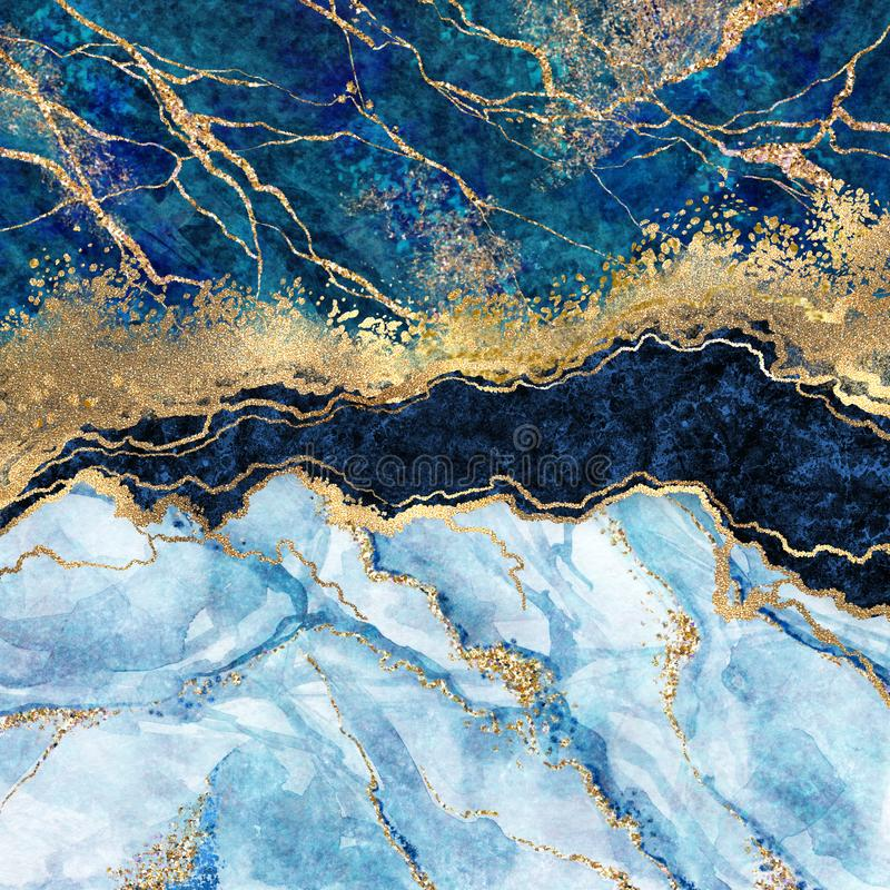 Abstract background, blue marble, fake stone texture, liquid paint, gold foil and glitter, painted artificial marbled, marbling. Abstract background, blue marble royalty free stock photography