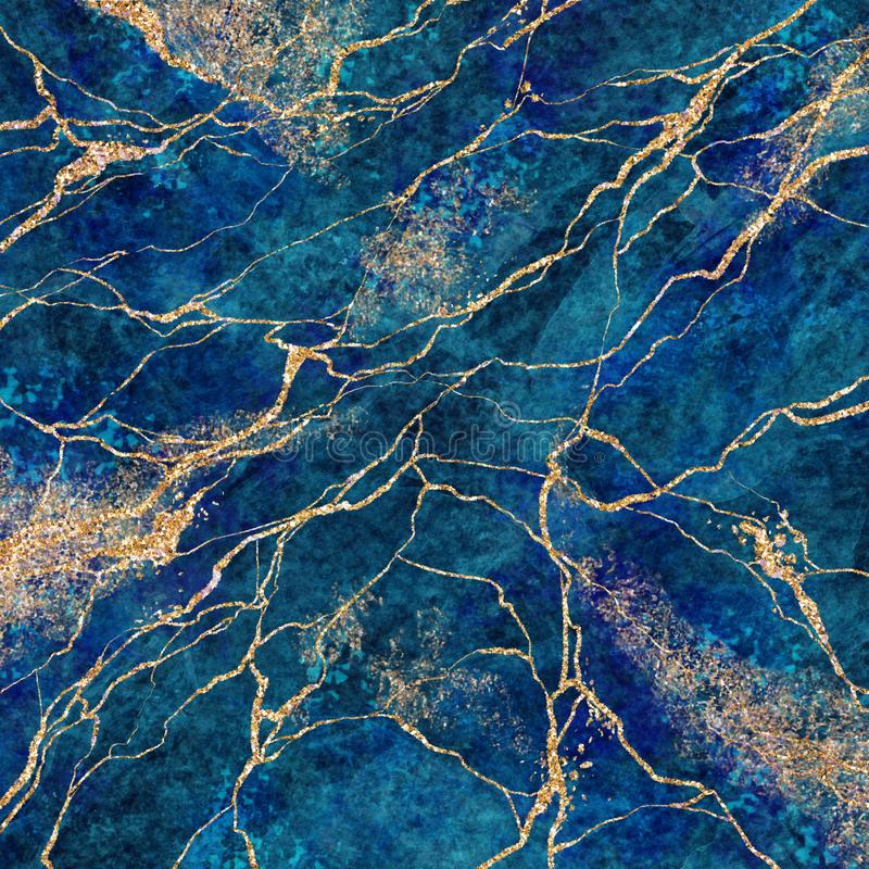 Free Abstract Background, Blue Marble With Gold Glitter Veins, Fake Stone Texture, Painted Artificial Marbled Surface, Fashion Marbling Royalty Free Stock Photos - 156592478