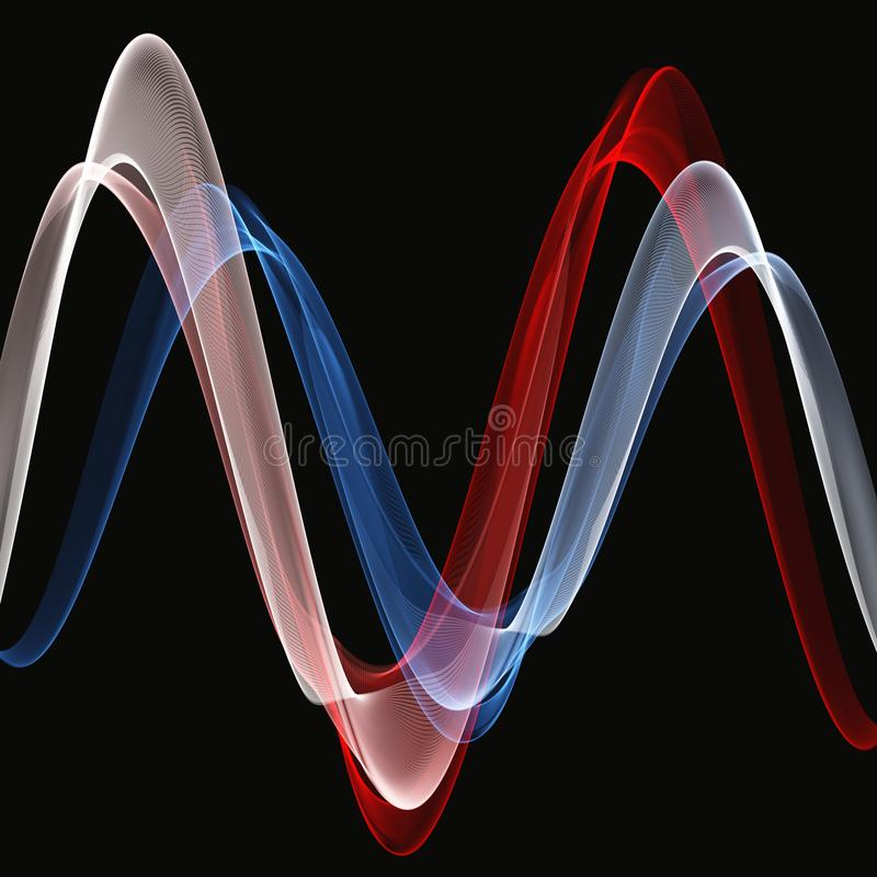 Abstract background with blue and red and white waves. On a black background stock illustration