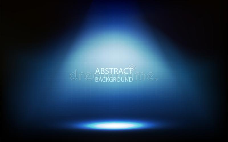 Abstract background, blue spotlight in room, grid wall with digital technology vector illustration. Abstract background, blue spotlight in room, grid wall with stock illustration