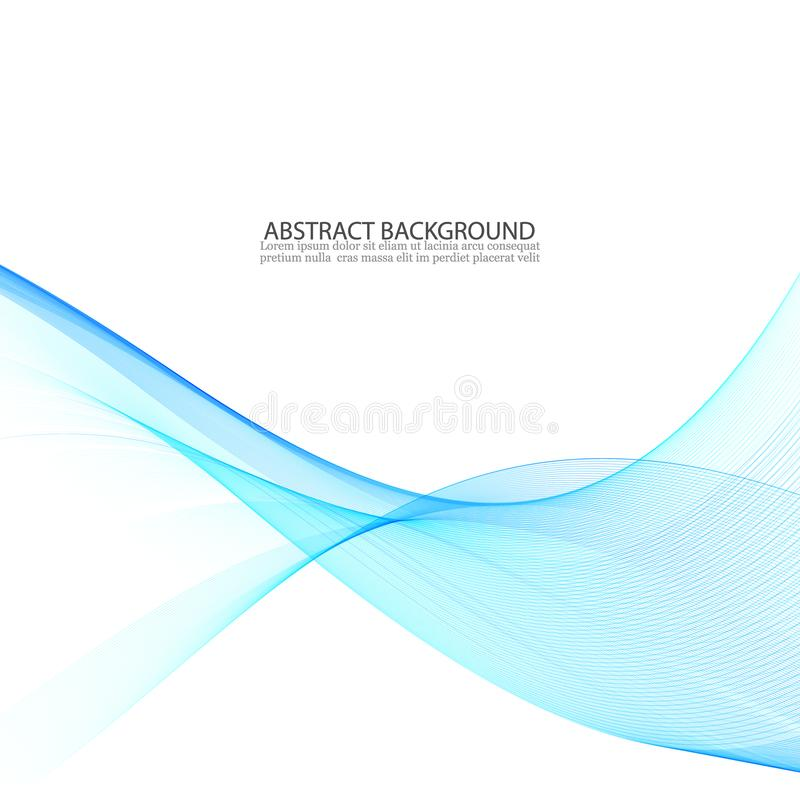 Abstract vector background, blue transparent waved lines. smoke wave. vector illustration