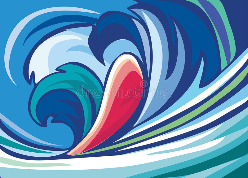 Download Abstract Background Of Blue Waves Stock Vector - Illustration: 7950235