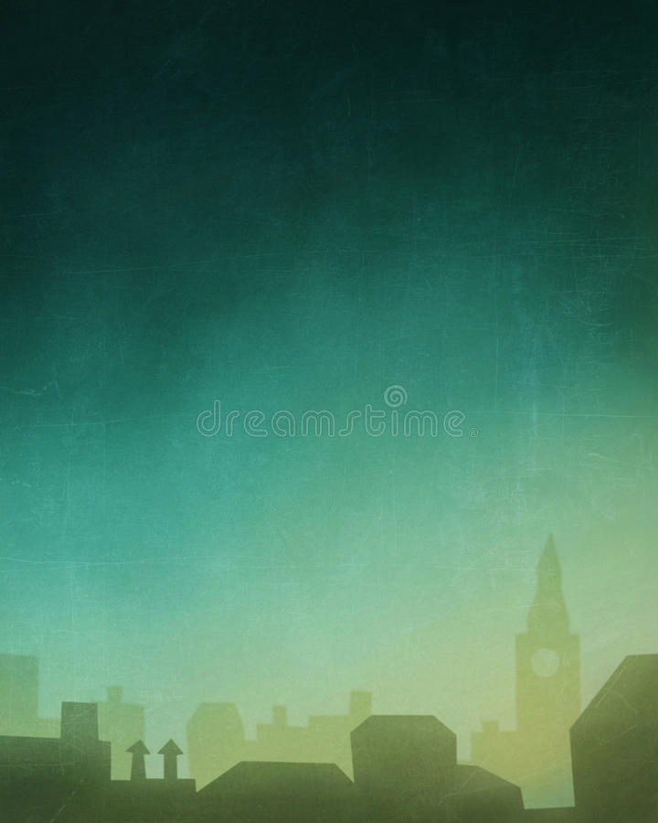 Abstract background. With blue yellow gradient and houses stock illustration