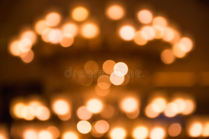 Abstract background of blurred lights. Holiday and illumination, decorative lighting theme.  royalty free stock image