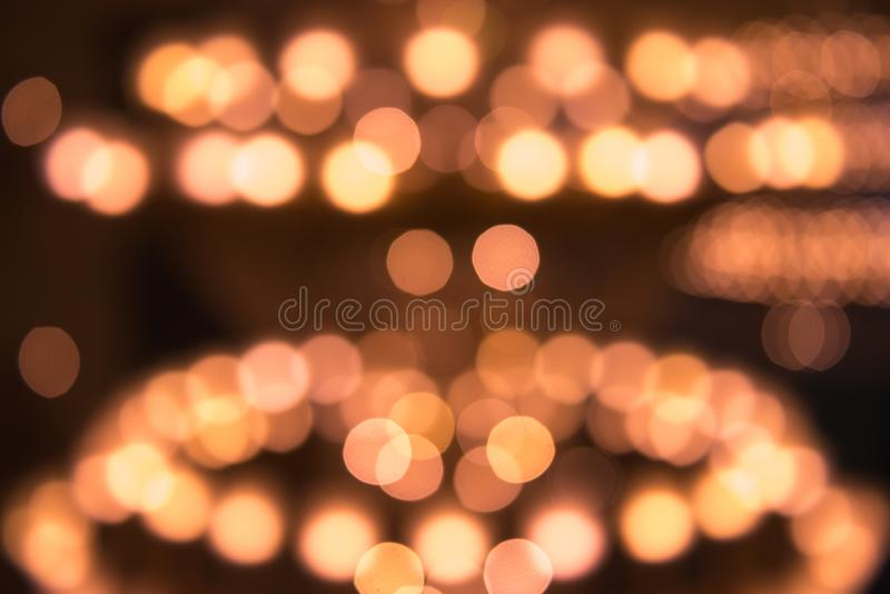 Abstract background of blurred lights. Holiday and illumination, decorative lighting theme.  stock photography