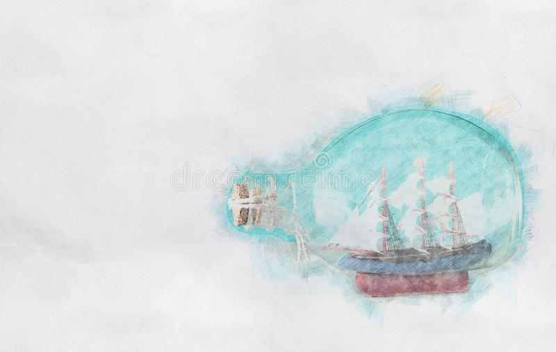 Abstract background of boat in the bottle. Colorful Pencil sketch painting style. stock images