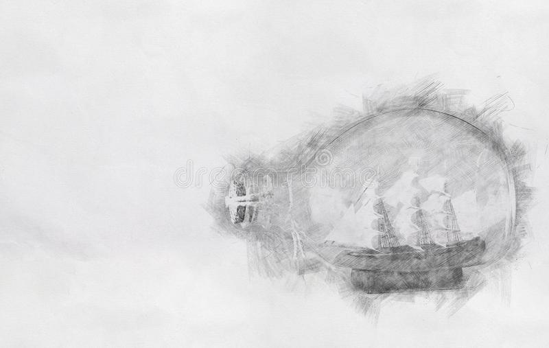 Abstract background of boat in the bottle. Pencil sketch painting style. Black and white royalty free stock photography