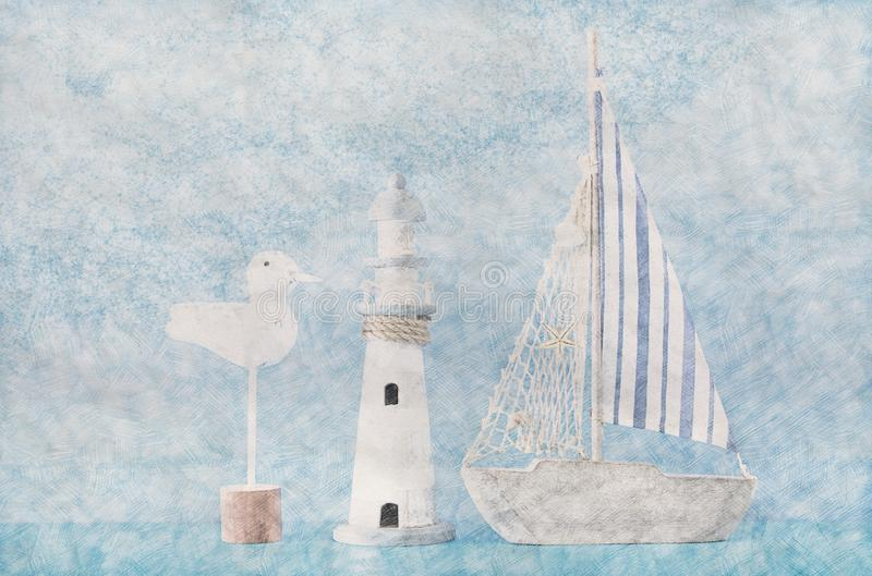 Abstract background of boat and lighthouse. Colorful Pencil sketch painting style. royalty free stock image